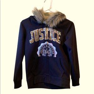 Justice fur hooded zip up
